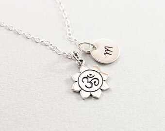 Personalized ohm necklace - lotus om necklace, sterling silver yoga jewelry, initial necklace flower charm