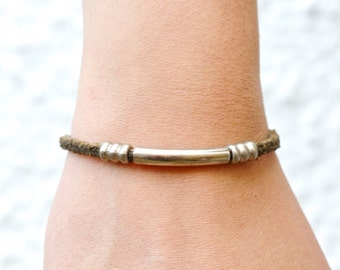 Leather Bracelet with Silver Bar - Boho Jewelry