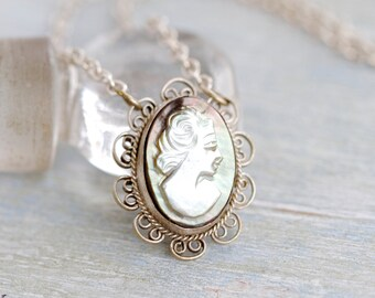 Vintage Mother of Pearl Cameo Necklace