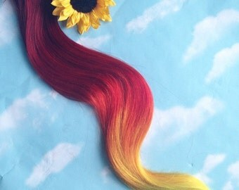 Burning Man Sun Fire Ombre Hair extensions, clip in hair extensions, hair weave, human hair, festival, sunflower hair, orange red hair