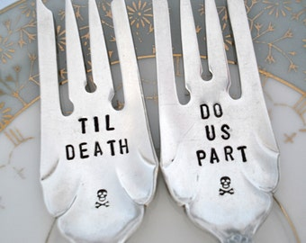 Til Death - Hand Stamped Wedding Cake Forks - Set of 2 - Skull and Crossbones - Goth Wedding - Sheffield 1917