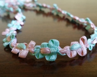 """3/8"""" Satin Rococo from France, Minty green and Peach, rosette trim, ribbon flower trim"""