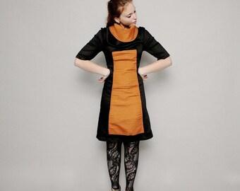 Sleeves dress, Turtleneck Dress, Winter orange dress, Women's winter fashion, Japanese dress, Fall dress, Apron style dress, Halloween dress