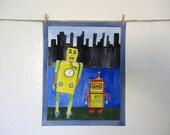Robots Kid Art, Nursery Art, Original Art for Boys Room, Red Robot