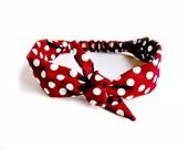 Maroon Red Dot Tie Headband, Polka Dot Head Scarf Dotted Tie Hairband Bandana Hair Accessory