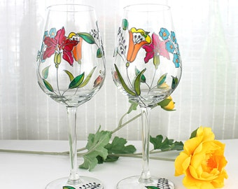 Hand Painted Wine Glasses, Floral Wine Glasses, Wedding Glasses, Embroidery Inspired Design, Hand Painted, Set of 2, Colorful Flowers
