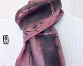 Mens Wool Scarf Gift Wrapped, Handpainted Japanese Scarf, Zen Bamboo, Mauve Pink Brown Mens Scarf, Gift for men. Approx 11x59 in
