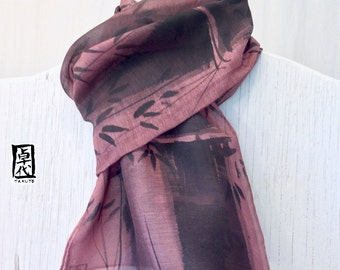 Mens Wool Scarf, ETSY, Gift Wrapped, Hand painted Silk Scarf, Zen Bamboo Scarf, Mauve Pink Brown Mens Scarf, Gift for men,  11x59 inches