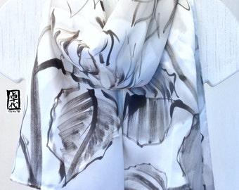 White Painted Scarf Silk, Gift for Wife, Spring Scarf, Black and White Zen Sunflowers Scarf, Silk Charmeuse, Takuyo Scarf, 11x60 inches.