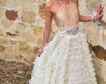 Custom Ruffle Ballgown Wedding Dress - Ivory and Champagne