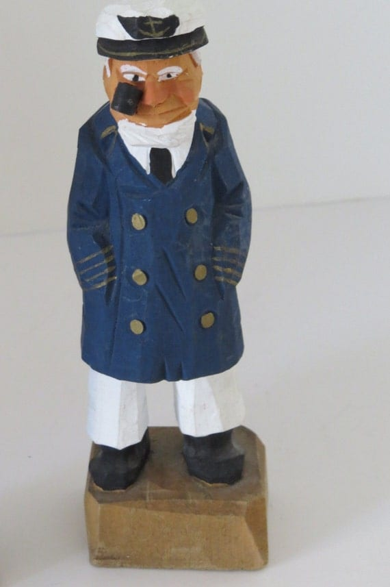 Vintage wooden sea captain figurine by nanco hand carved