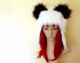 Panda Hat Faux Fur Animal Hat in Black and White