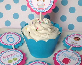 12 Spa Girls Birthday Party Cupcake Toppers