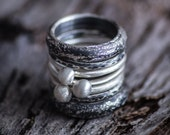 Sterling Silver Stacking Rings-Stacking Ring Set-Oxidized Stackable Rings-Set of 7-Under 100