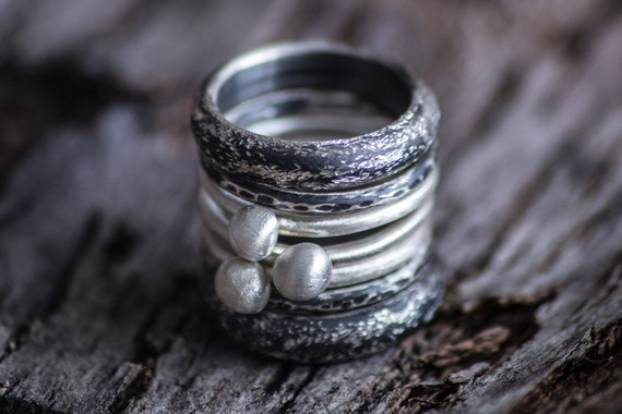 CUSTOM ORDER for Yang-Sterling Silver Stacking Rings-Stacking Ring Set-Oxidized Stackable Rings-Set of 7-Under 100