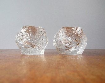 Pair Vintage Kosta Boda Glass Snowball Votive Candle Holders