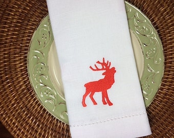 Majestic Christmas Reindeer Cloth Napkins, Embroidered Christmas Napkins, Reindeer napkins, Christmas Cloth Napkins, Reindeer embroidered