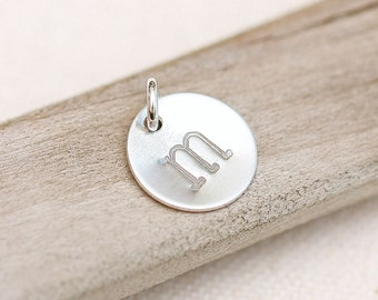 ONE Letter Charm, Personalized Sterling Silver Necklace Charm, Personalized Jewelry, 1/2 inch initial charm