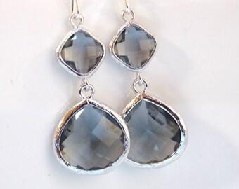Gray Earrings, Grey, Charcoal, Silver, Dangle, Glass, Drop, Wedding Jewelry, Bridesmaid Earrings, Bridesmaid Jewelry, Bridesmaid Gifts, Long