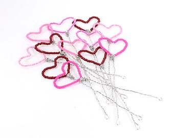 Hearts Plant Decor or Cake Topper Set of Three Beaded Hearts Custom in any Colors