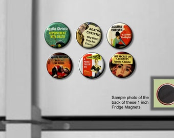 "Agatha Christie classic mystery author SET of 6 Hand Pressed 1"" Fridge Magnets"