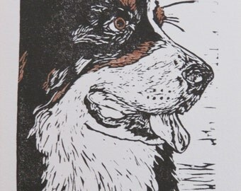 "Bernese Mountain Dog hand-colored block print, limited edition - ""Dewey"" hand-pulled print, dog art"