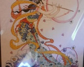 Complete Unopened Counted Cross Stitch Kit-Asian Fantasy Flute Player Kit-Embellished Asian Musical Kit