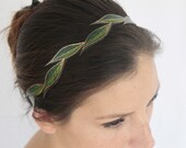Women's Headband Fall, Cascading Green Leaves, Faux Leather, Handmade & Painted, Vegan Boho Headband, Gifts for Her