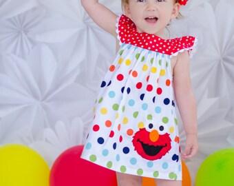 Girls Elmo Birthday Dress - Elmo Birthday Outfit - Girls Birthday Dress - 2nd Birthday outfit - Rainbow birthday