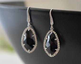 30% OFF,Luxury earrings,Onyx Earrings,Wedding earrings,Bridal earrings,Bridesmaid jewelry,Anniversary gift,Cocktail jewelry,Silver earrings