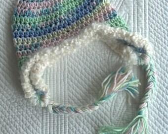 Crochet Earflap Hat, So Soft Pink, Blue, Green, Cream Crochet Hat with Earflaps, Crochet Hat, Baby Hat, Newborn Hat, Baby Girl Hat, Baby Hat
