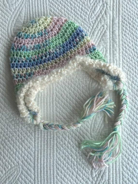 Crochet Earflap Hat, So Soft Pink, Blue, Green, Cream Crochet Hat with Earflaps, Crochet Hat, Baby Hat, Newborn Hat, Baby Girl Hat, Baby Hat