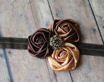Ready for Fall Shades of Brown and Gold Rosette Headband Satin Headband Lace Vintage Inspired