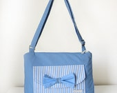 Baby Blue Medium Shoulder Handbag with Bow Stripes and Spots Adjustable Strap for Cross Body and Pockets