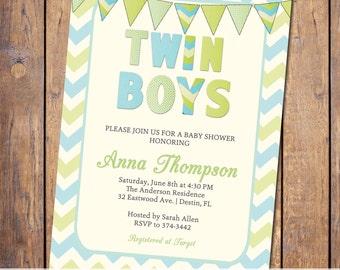 Twin boys baby shower invitation, modern, blue and green chevron, digital file, printable (item25)