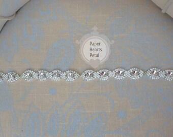 Crystal Rhinestone Bridal Belt / Sash for Wedding Dress - You Choose Ribbon Color