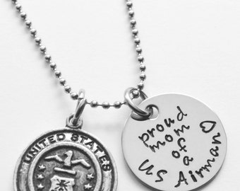 Air Force Necklace - Air Force Mom - Pilot Mom - Mother of Airman - Wife of Airman - Air Force wife