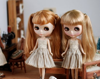 Miss yo Vintage Inner Dress for Blythe doll - doll dress / outfit - Beige