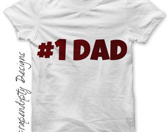 Father's Day Iron on Transfer - Iron on #1 Dad Shirt Iron on / Men T-Shirts / Father Son Shirt / New Dad Clothes / Number One Dad IT244-P