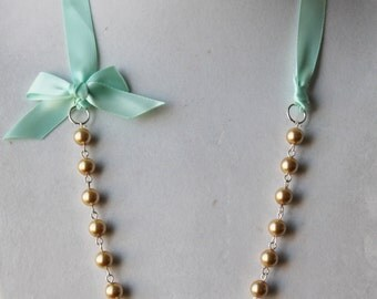 Gold Pearl and Mint Green Ribbon Bow Necklace