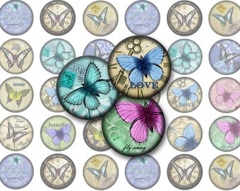 Vintage Butterfly Printable 1-inch Circles / Bottlecap Images / Inspirational Sayings, Butterflies, Flowers, Clocks / Instant Download