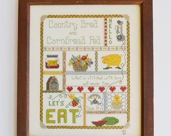 Vintage Cross Stitch Country Bred and Cornbread Fed Framed Country Cross Stitch Wall Hanging Wall Art