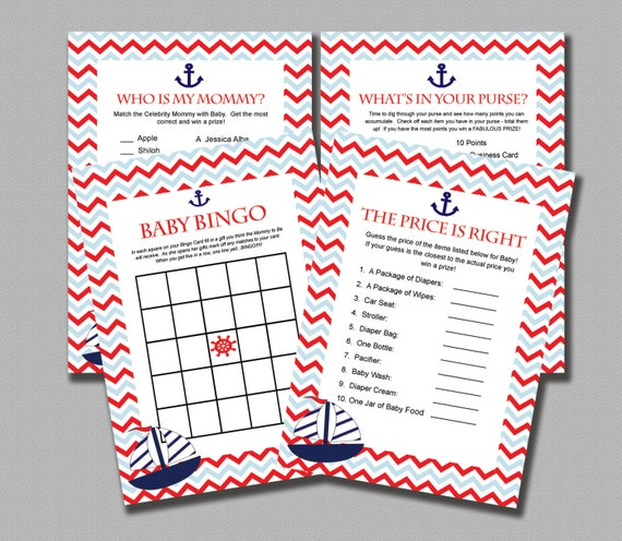 nautical baby shower games instant download printable diy blue red