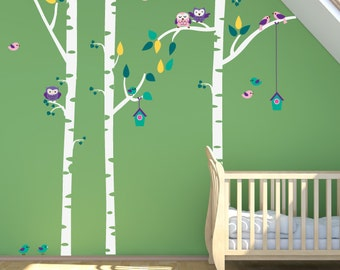 Birch Tree Fabric Decals, Kids Birch Trees with Owls REUSABLE Nontoxic Decals, 146B