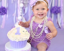 Lavendar petti lace romper and headband 2 pc SET, Baby girl 1st birthday outfit, Easter Dress, Easter Outfit, Baby romper, Cake Smash Outfit
