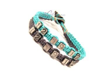 Anniversary Bracelets, Anniversary Gift, Date Bracelets, Save the Date, Couples Bracelets, Set of 2 Hemp bracelets, Couples Gift Idea