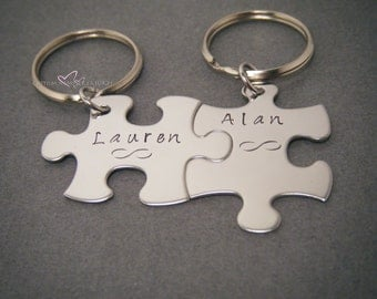 Fiance Gift, Personalized Name Infinity Keychains, Puzzle Keychains for Couples, Engagement gift Bride and Groom, Gifts under 50