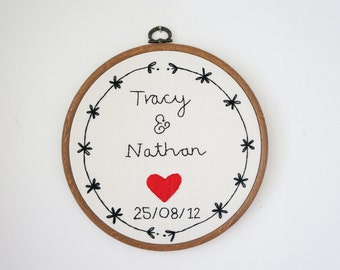 hand stitched anniversary wall hanging embroidery.