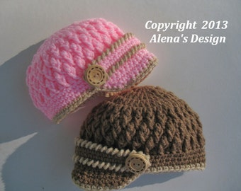 Crochet Pattern 092 - Hat Crochet Pattern - Crochet Hat Pattern for Two-Button Visor Hat Newborn Baby Boy Baby Girl Toddler Baby Shower Gift