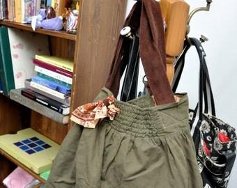 Butt Bag #7, Drab Green, Upcycled Skirt